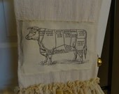 Shabby Cottage Chic French Farm House Cow Dish Towel