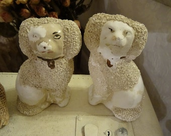 Vintage Shabby Cottage Chic Pair Chalk Staffordshire Dogs