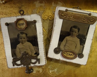 OOAK Altered Tin Type Photo Open and Close Plaques Signs Pair