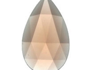 Teardrop 40x24mm Peach Faceted Flat Backed Glass Jewel for Stained Glass