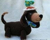 JULY SALE Crochet Pattern Dashshund Dog by Teri Crews instant download PDF format Crochet Toy Pattern