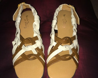 Vintage 1970s Ladies/Girls Italian Braided Strap Sandles; Never-Worn Deadstock, Hippie Disco Shoes, Size 5M