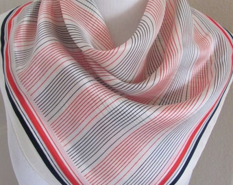 """Echo // Lovely White Red Blue Stripe Silk Scarf // 24"""" Inch 61cm Square"""