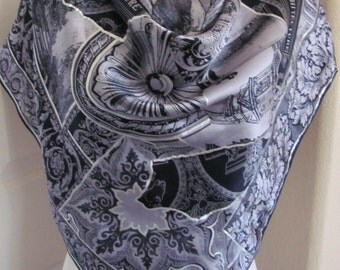 """WOW!! Ellen Tracy // Silver Black Painted Large Silk Scarf // 35"""" 90cm Square // Best of the Best"""