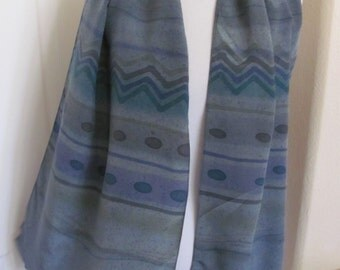 "Designer Beautiful Gray Green Silk Scarf // 15"" x 60"" Long // Best of the Best"