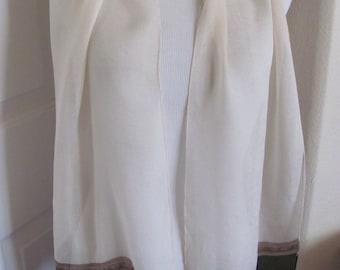 "ECHO //  Ivory Black Sheer Silk Scarf // 11"" x 58"" Long"