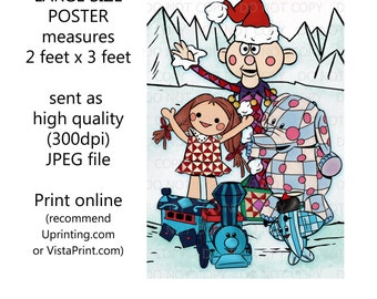 """Printable Christmas Rudolph Misfit Toys Inspired Characters Wall Art Party sign 24""""x36"""" Poster"""