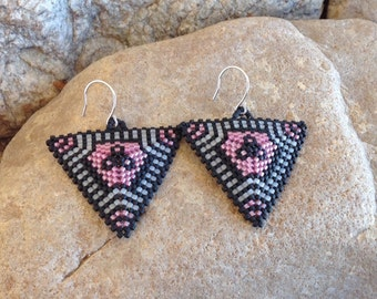 Pink Flowers Triangle Beaded Earrings