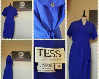 Retro 80s Blue Silk Wrap Dress. Stunning! Size 14.