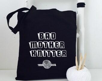 Bad Mother Knitter - Black knitting bag