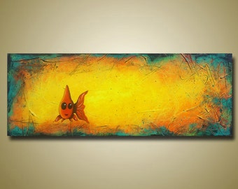 Cute Goldfish Original Painting - Yellow Painting - Fish Art - Big Art 18x48 by Britt Hallowell