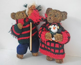 Vintage Christmas Teddy Bears Resin with Cloth Body Knit Clothing Hobby Horse Penguin