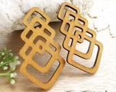 WP26 /  #12 Sand / Geometric Shape Pairs for Earring / Laser Cut Geometric Wooden Charm/Pendant/Filigree Wood Cut/Handmade Jewelry Findings