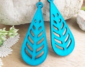 WP11 /  # 9 Aqua Blue /Geometric Tear Shape Pairs for Earring/Laser Cut Geometric Wooden Charm/Pendant/Large Filigree Wood  Dangle/Eardrop