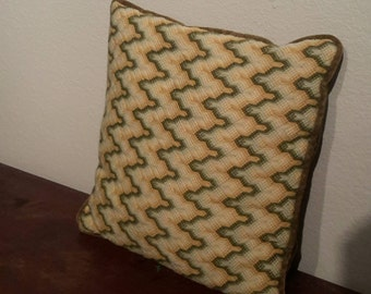 Retro flame stitch pillow
