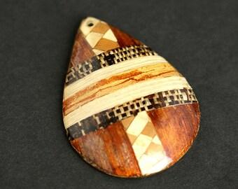Wood Inlay Pendant. Vintage Pendant. Handmade Wooden Teardrop Pendant. Wooden Pendant. 33mm x 44mm Pendant (1 pc)