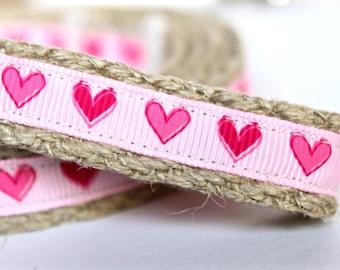 Pink Heart Dog Leash, 5/8 inch Dog Leash, Preppy Leash, 4 foot Dog Leash