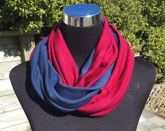 Merino wool infinity scarf, neck warmer, cowl, circle scarf in red and blue