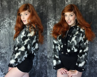 Vintage 1990s Greyscale Faux Fur Cropped Fuzzy Jacket