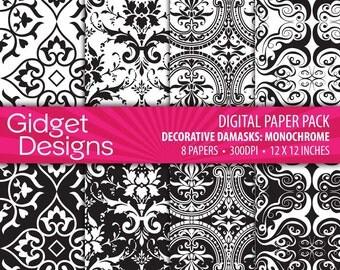 Black Damask Digital Paper Pack Black Damask Black and White Damask Instant Download Printable