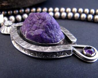 Zen Garden Purple Mountain Sugilite and Amethyst Sterling Pendant
