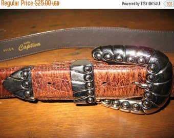 ROCK A BILLY Gorgeous 1980s  Lady Captiva Embossed Alligator Like  Leather Belt With  Heavy Silver Ornate Buckle Mint Condition Size Large