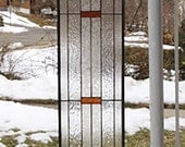 """Prairie School Style Sidelight- 8-1/4""""  x  56-5/16""""  Stained Glass Window Panel -"""