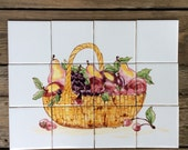 Tile mural, Hand painted tile mural, Original design, Basket of fruit and vegetables, white gloss tile,kitchen backsplash, table top insert.