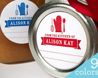 Colorful CUSTOM Kitchen labels, round gift stickers for canning jars or baked goods, From the Kitchen of sticker personalized with YOUR name