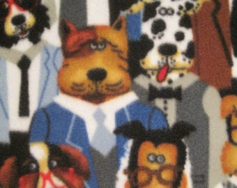 Dogs in Dress Suits with Blue - Handmade Fleece Blanket - Ready to Ship Now