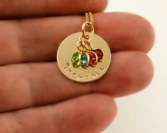 Grandma Necklace Gold Personalized | Personalized Grandma Necklace | Grandma Jewlery | Birthstone Necklace, Grandma Birthstone Necklace Gold