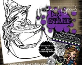 PRINTABLE Digi Stamp Witch Enchanted Halloween Coloring Page Fun Fantasy Art Hannah Lynn