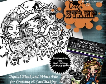 PRINTABLE Digi Stamp Happy Halloween Trick or Treaters Enchanted Halloween Coloring Page Fun Fantasy Art Hannah Lynn