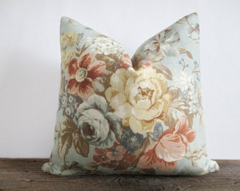 Linen Pillow Cover Vintage Style Floral Bouquet Fawn Ticking