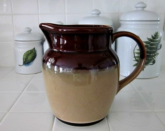 Vintage Large Brown and Tan Crock Pitcher - Milk Pitcher - Farmhouse Country - Kitchen Decor - Rustic Pitcher - Pottery Pitcher - Bobann23