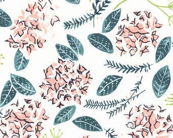 Coral Green and Black Floral Cotton Fabric, Desert Bloom by Rae Ritchie Collection for Dear Stella, Moss Floral Multi, 1 Yard