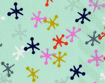 Aqua Navy Pink and Mustard Jacks Cotton Fabric, Playful by Melody Miller for Cotton and Steel, Jacks Aqua, 1 Yard