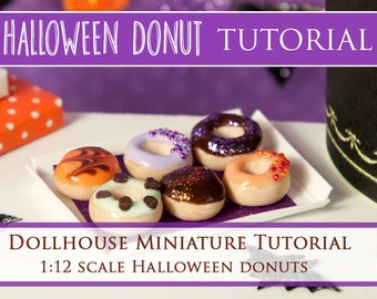 Tutorial - How to Make Halloween Donuts - 1/12 scale dollhouse miniature