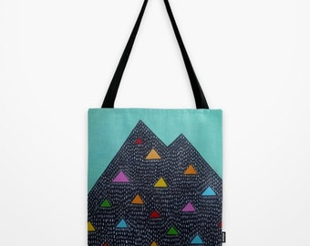 Triangle Mountain Geometric Nature Inspired Artwork printed on tote bag Unique Tote Bag