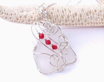 Beach Glass Jewelry - Seaglass Necklace - Christmas Beach Wedding - Lake Erie Beach Glass