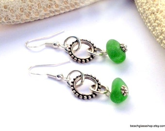 Sterling Beach Earrings - Sea Glass Earrings - St Patricks Day Jewelry -  Lake Erie Beach Glass Earrings - Beach Glass Jewelry