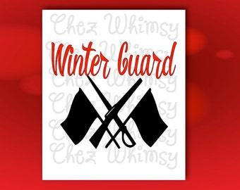 Winter Guard SVG, Guard Cutting File, Winterguard Digital Files, Color Guard Flag, Rifle, and Sabre