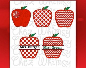 Apple SVG, Teacher Gifts, Teacher SVG, Monogram Apple Cut Out Files, Polka Dot Apple, Chevron Apples for Teachers Appreciation