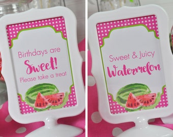 Watermelon Birthday Party 4x6 SIGNS , Summer Birthday, Girls Birthday Decorations - (2) 4x6 Printed Signs (Frames NOT included)