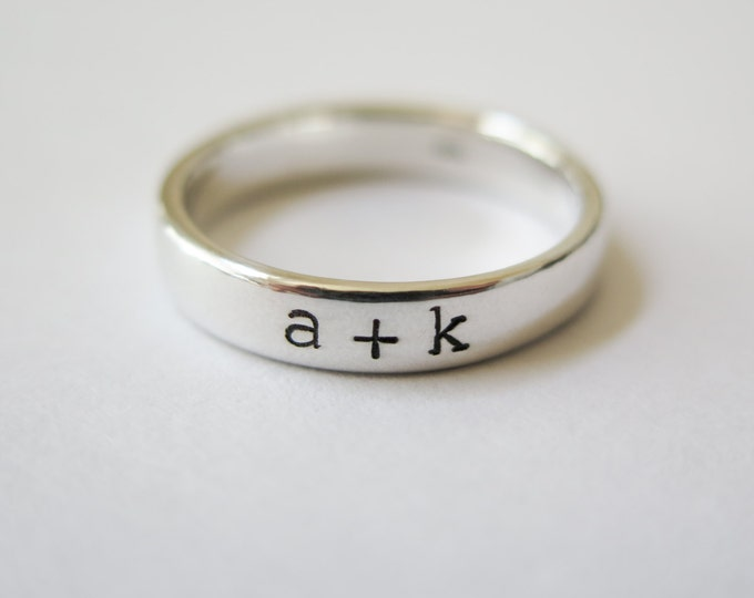 Couples Initials Ring - Sterling Silver - Wedding - Hand Stamped - Personalized Gift by Betsy Farmer Designs