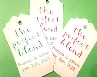The Perfect Blend Wedding Favor Tag, set of 12, 3 inches x 1.65 inches, coffee favors, coffee lover, coffee wedding, coffee beans, favors