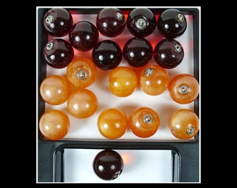 """20 Big Lucite Balls Grapes Pearly Peach Clear Red w hanger caps Mid Century 1.5"""""""
