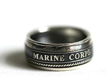 United States Marine Corps Handmade Silver Coin Ring, Custom Sizing 10-15