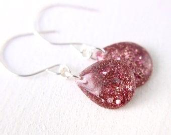 pink glitter earrings, pink teardrop earrings, sterling silver earrings, sterling silver teardrop earrings, valentines day earrings