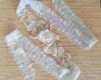 Aqua/Ivory beaded lace headband